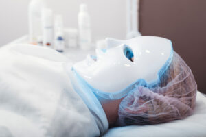 Woman undergoing PDT therapy   Featured image for Blue Light Treatment for Pre Skin Cancer Conditions   Blog